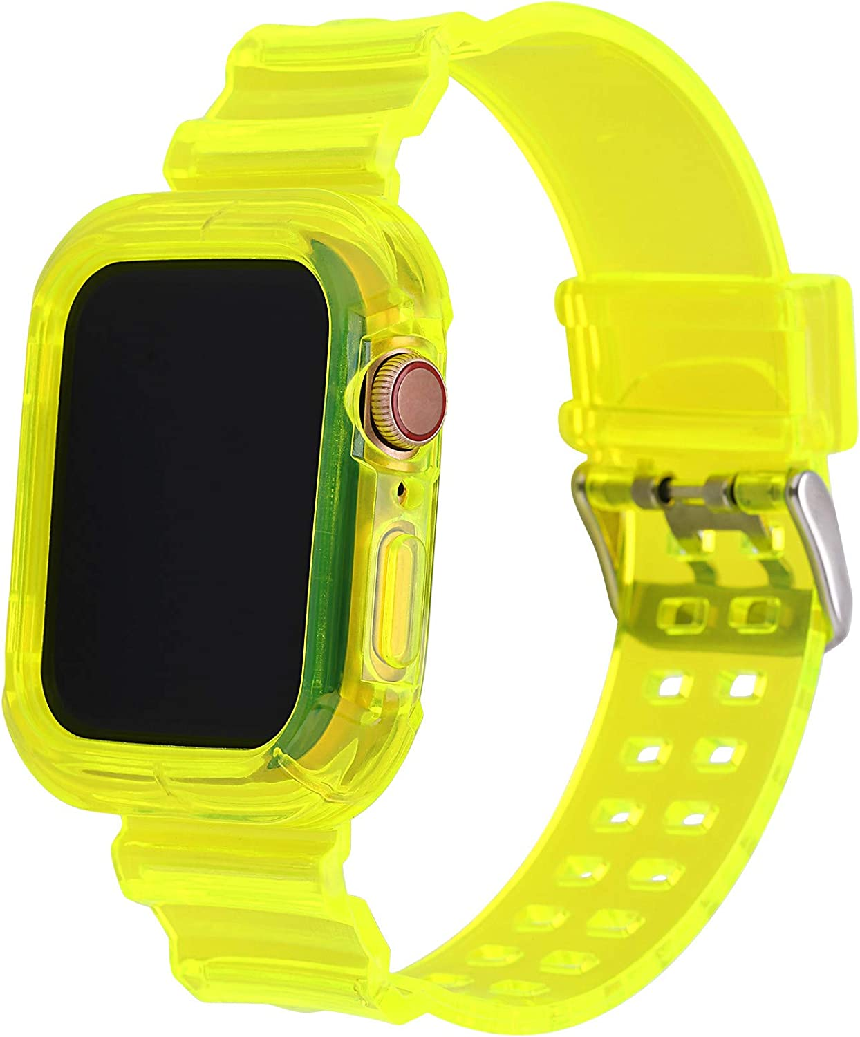 Greaciary Compatible for Apple Watch Bands Case 38mm/40mm/42mm/44mm for Men & Women, Crystal Transparent Bumper Sports Wristband Bangle Strap iWatch Series 6 5 4 3 2 1(Yellow,42mm/44mm)