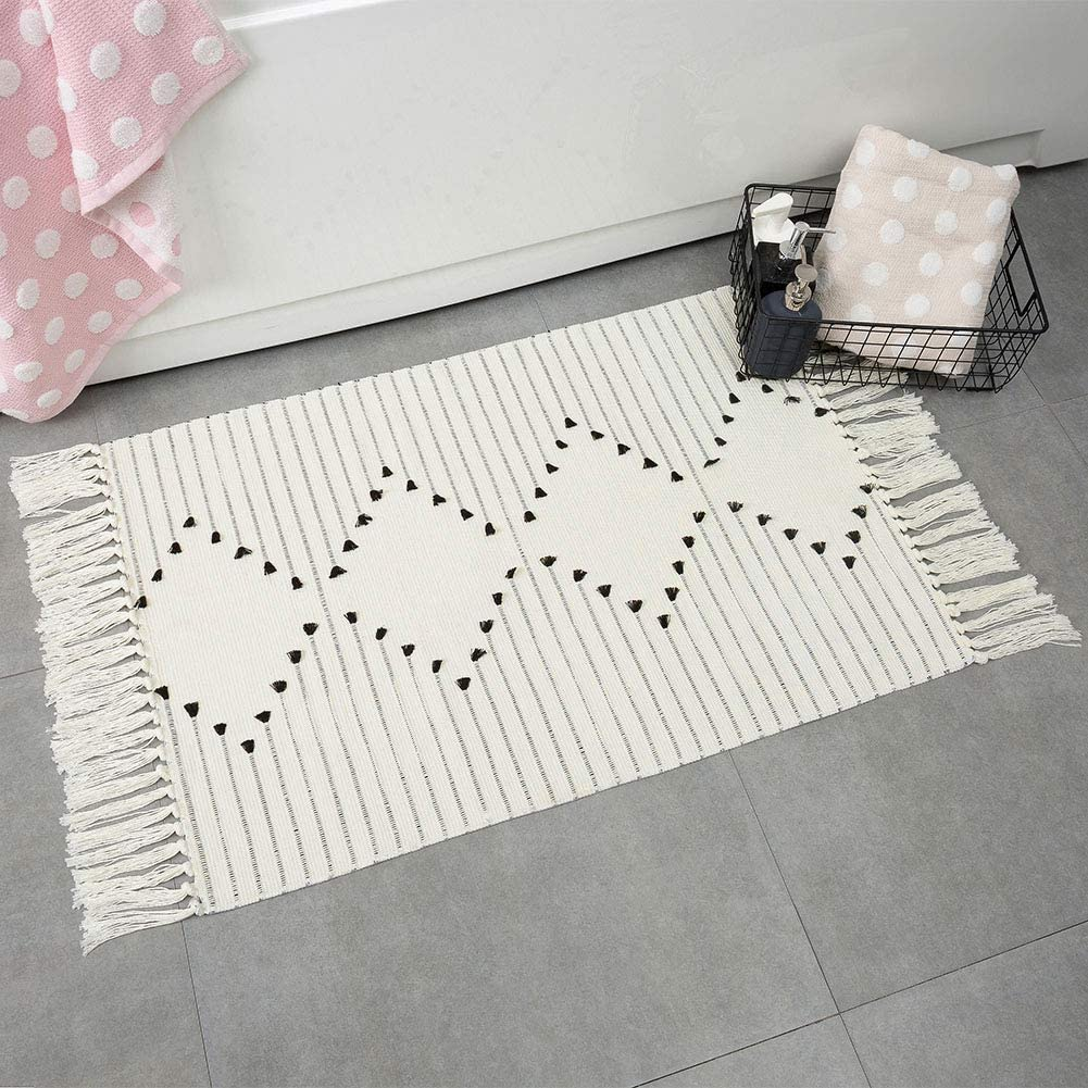 Boho Bathroom Rug Small Fringe Rug for Kitchen Bedroom, Cotton Woven Tassel Throw Rug 2'X3' Moroccan Bath Mat Washable for Laundry Room Doorway Entryway