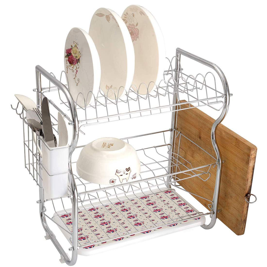 Stainless Steel 3-Tier Dish Drainer Rack USA Kitchen Drying Drip Tray Cutlery Holder Cupcakes with National Flags Cute Cafe Yummy Homeland July Fourth Caricature Decorative,Beige Navy Blue Red,Storage by Smallgrid