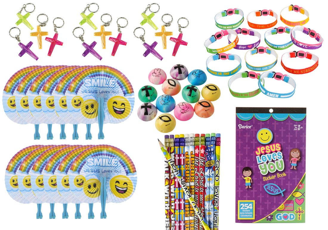 61 Piece Bulk Religious Christian Theme Kids Party Favors Bundle for Easter, Awana, VBS or Sunday School