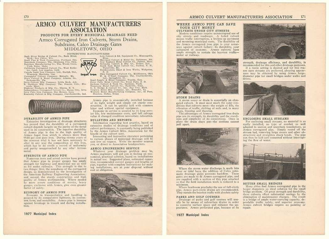 1927 Armco Culvert Manufacturers Association Pipe 2-Page