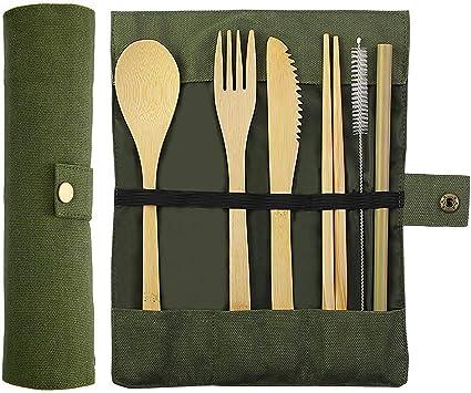 Bamboo King – Juego de cubiertos de bambú, cubiertos de viaje ...
