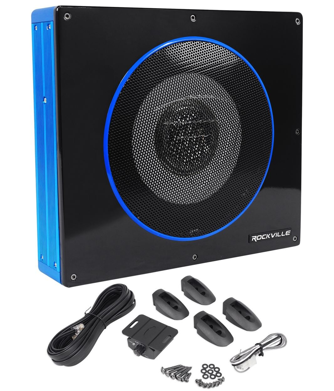 Rockville RW8CA 8'' 600 Watt Low Profile Under-Seat Active Powered Car Subwoofer