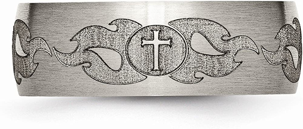 Jewelry Stores Network Mens 8mm Brushed Titanium Cross and Flames Laser Design Wedding Band Ring