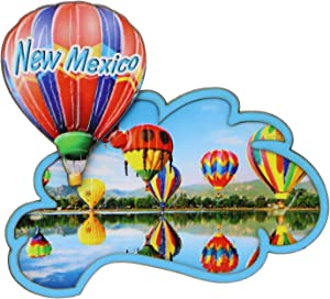 3D New Mexico Magnet with Hot Air Balloons, Wooden 4 Inches