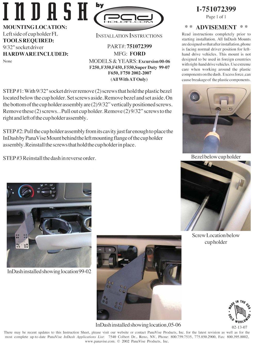 F550 Padholdr Edge Series Premium Tablet Dash Kit for 97-07 Ford F-250 F450 F650 and F750 Pad Holdr PHEC-GB.751072399-2.717-06SF 350 SD