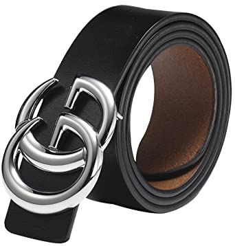 1ad24d50 Women Lady Leather Belt GG Buckle Belt for Women Black Leather