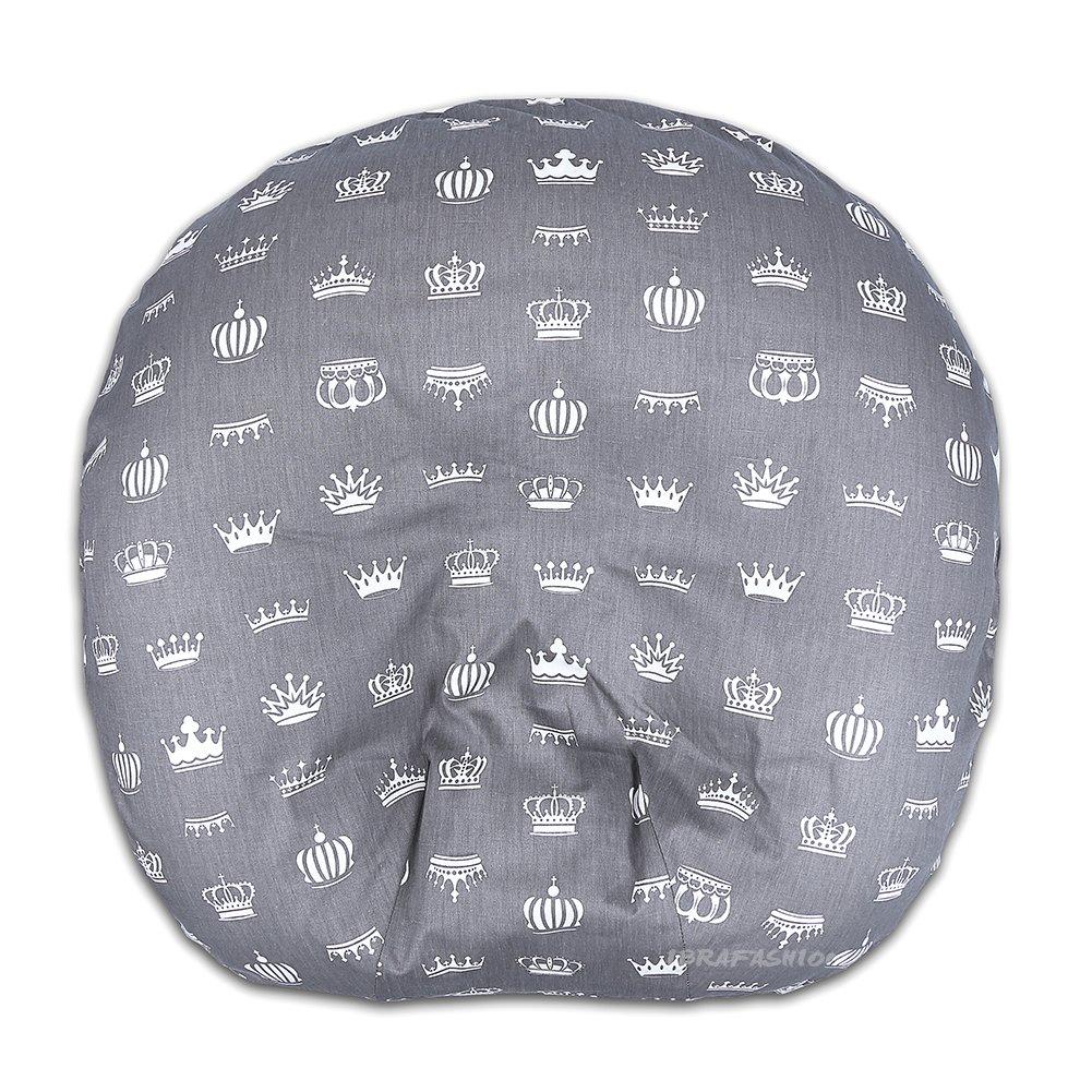 Newborn Lounger Cover Removable Cover 100% Soft Cotton Crowns Grey IBraFashion L-03