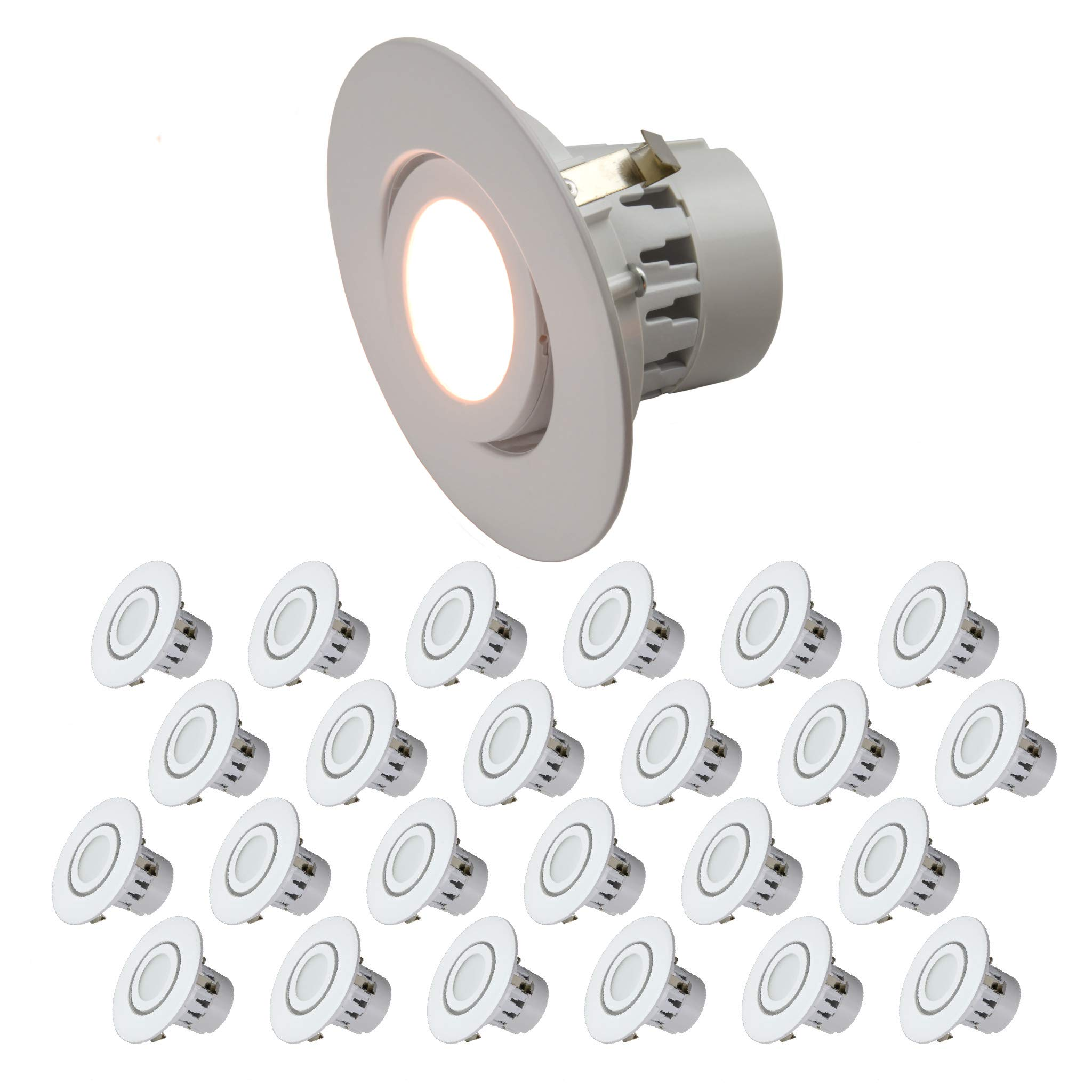 4'' Inch LED Gimbal Adjustable Rotating Downlight 10W= (75w Equivalent) Wet Loaction Rated; 25,000 Life Hours; Dimmable; 5 YR Warranty; Warm White 2700K- (24 Pack)