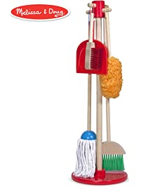 Melissa & Doug, Let's Play House! Dust! Sweep! Mop! Pretend Play Set (6-piece, Kid-Sized with Housekeeping Broom, Mop, Duster and Organizing Stand for Skill- and Confidence-Building)