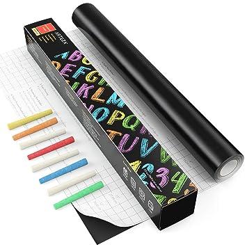 ARTEZA Pizarra adhesiva negra para tizas | Rollo de 45 cm x 5 m | Incluye 8 tizas | Adherencia fuerte | Papel pizarra adhesivo | Vinilos de pared para ...