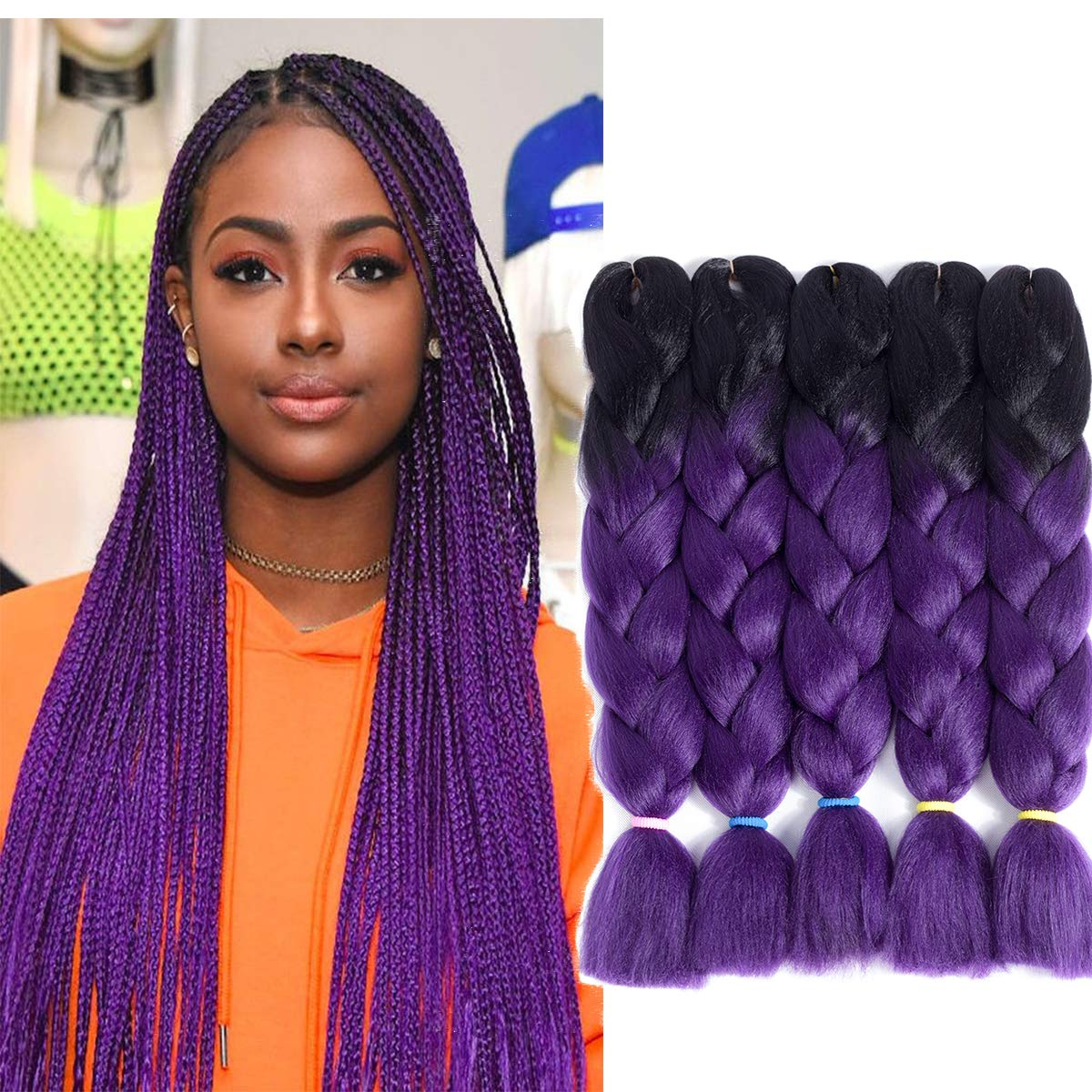 Silky Strands Ombre Synthetic Kanekalon Braiding Hair For Crochet Jumbo Braids False Hair Extensions Jumbo Braids