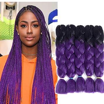 Purple Ombre Kanekalon Synthetic Jumbo Braid Hair Extensions 5pcs Lot Ombre Black To Purple