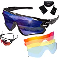 RUZER© Official Cycling WRAP Driving Sports POLARIZED lens Sunglasses, 5 Interchangeable lens, TR100 FRAME, UV400 Protection, Fishing Driving Running Golf MTB hybrid cross country Glasses Reflective