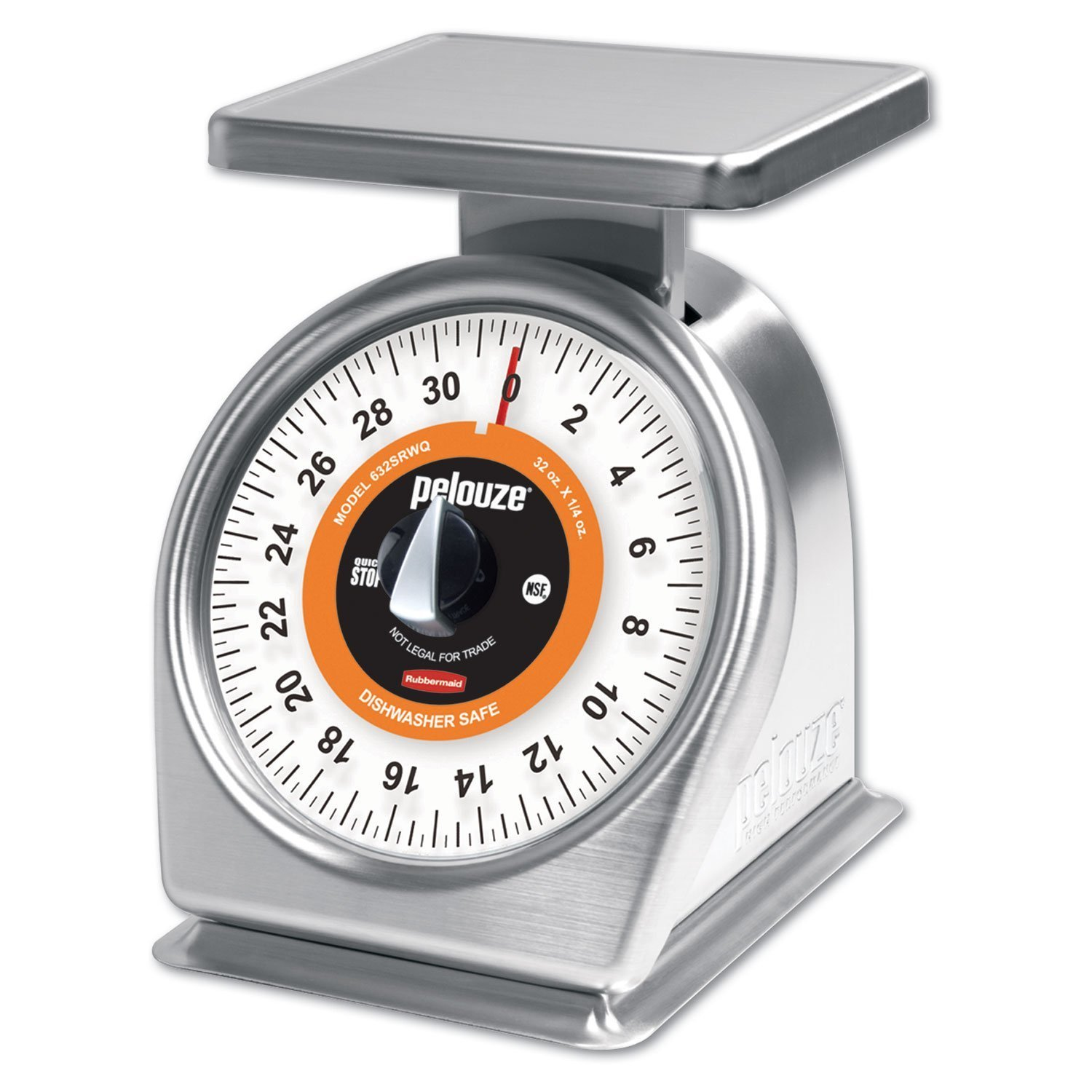 Rubbermaid Commercial Products FG632SRWQ Stainless Steel Food Service Mechanical Portion Control Scale with Quick-Stop, 2 lb. 171797