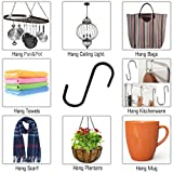 Flammi 20 Pack S Hooks Stainless Heavy Duty Hold 40 Pounds Black Finish Steel Pan Pot Holder Hanging Hooks 3.38 Inches Long for Mugs Towels Bags Kitchen Office Garden Versatile