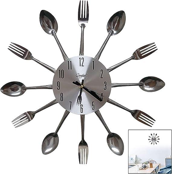 LSTK Relojes Cocina, Reloj De Pared con Cuchillo y Tenedor, Reloj Grandes Diseño Moderno Y Único en Casa Decoración de Oficina Reloj Escolar 32 * 32 Cm: Amazon.es: Electrónica