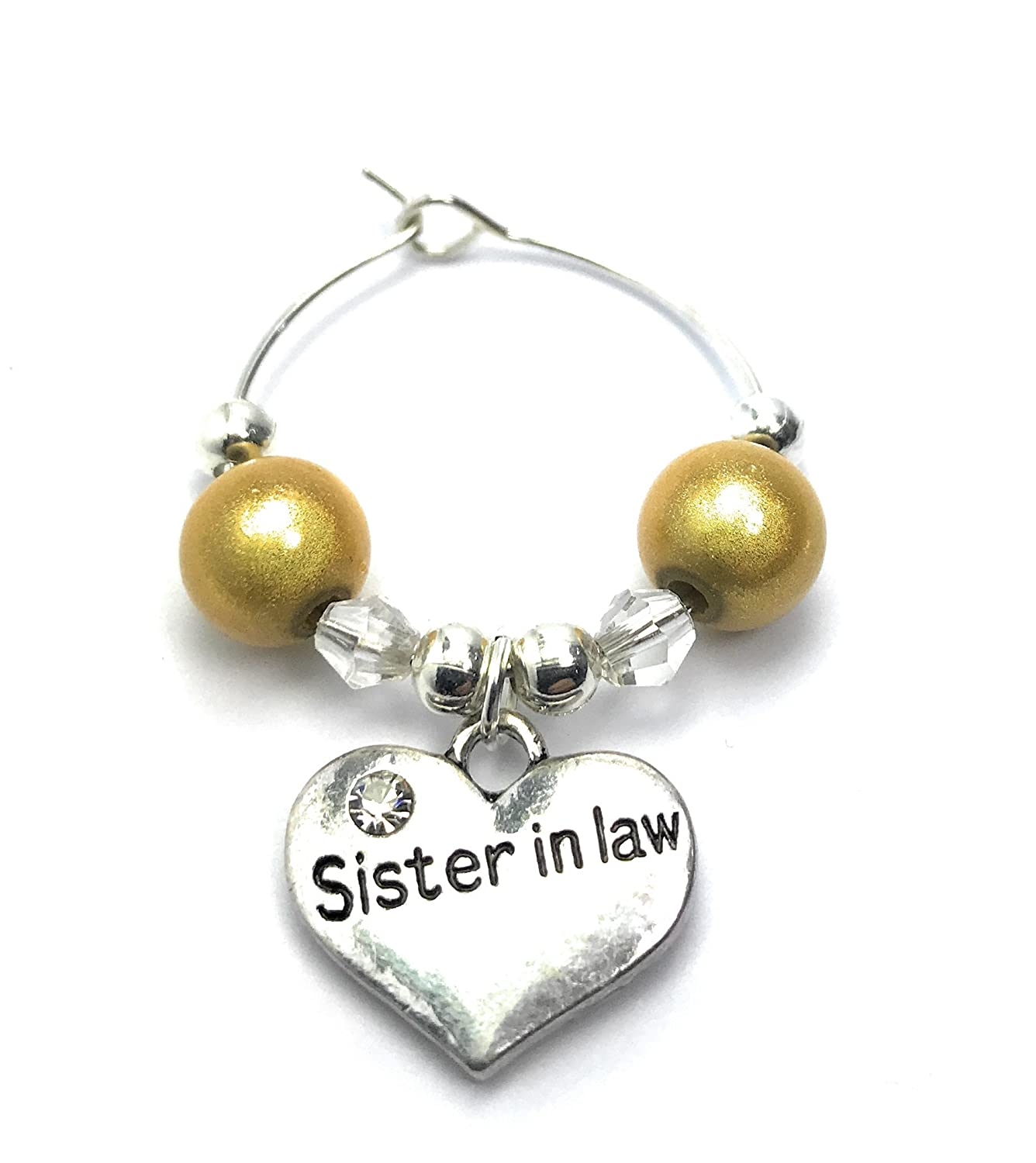 Sister in Law Wine Glass Charm with Gift Card Handmade by Libby's Market Place - From UK Seller Libby' s Market Place