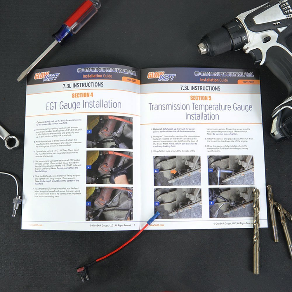 Transmission Temp /& 100 PSI Fuel Pressure Gauges Gray Quad Pillar Pod 1500 F EGT Tinted 7 Color 60 PSI Boost GlowShift Diesel Gauge Package for 1999-2007 Ford Super Duty F-250 F-350 Power Stroke