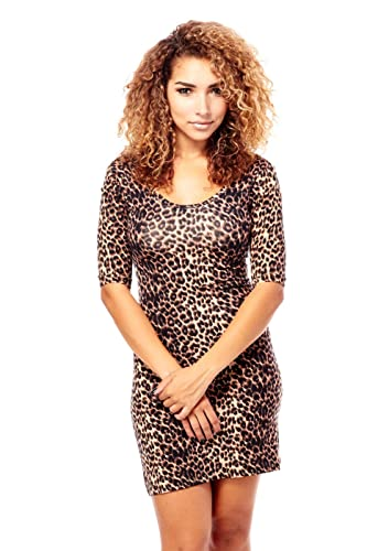Womens Ladies Pretty Lovely Queen Cheetah Bodycon Dresses RD1015L