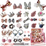 Baby Girl's Hair Clips Cute Hair Bows Baby Elastic Hair Ties Hair Accessories Ponytail Holder Hairpins Set For Baby Girls Teens Toddlers, Assorted styles, 36 pieces Pack