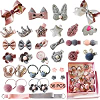 Baby Girl's Hair Clips Cute Hair Bows Baby Elastic Hair Ties Hair Accessories Ponytail Holder Hairpins Set For Baby Girls Teens Toddlers, Assorted styles, 36 pieces Pack(PH0053A)