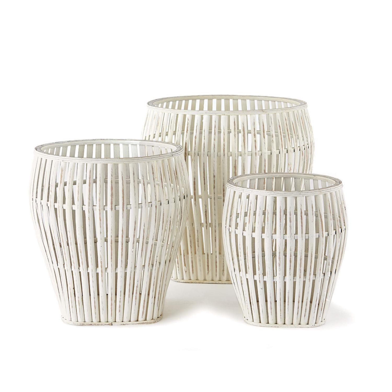 Set of 3 Great Panda Fare Whitewash finish Bamboo Decorative Baskets 17.5