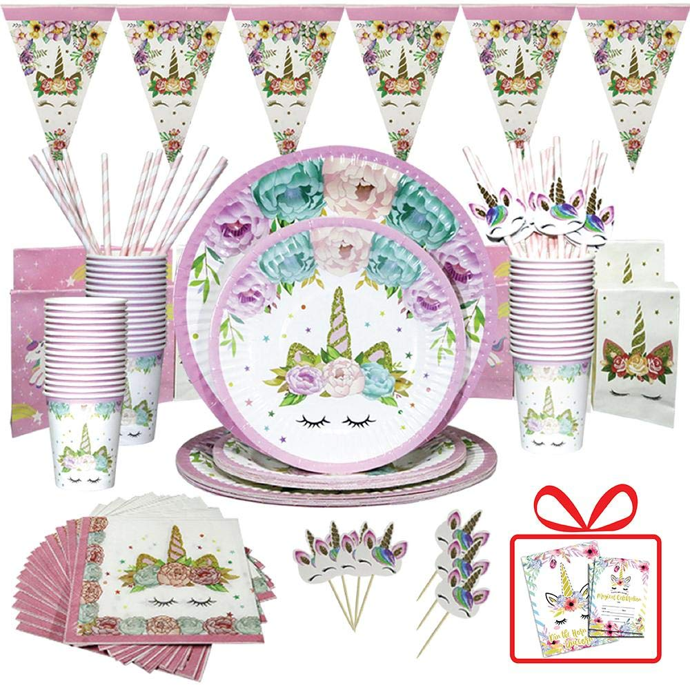 Unicorn Party Supplies/ALYN Birthday Party Favors Serves 16 / Include 110 Pieces Themed Party Decorations, Unicorn Cake Topper/Disposable yet eco friendly giving your girl memorable and fun party by ALYN