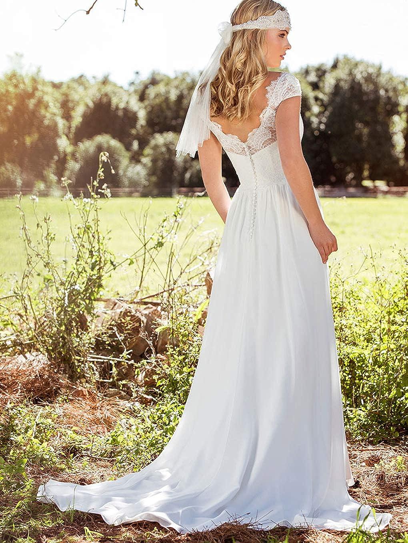 Fashionbride Womens V-Neck Lace Boho Wedding Dresses with Short Sleeves Bohemian Beach Bridal Dress