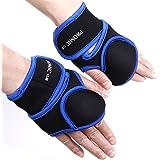 PROMIC Heavy-duty Neoprene Women Weighted Fitness Gloves for Kickboxing, Aerobics, Walking, Calisthenics, Sculpting, Running (1lb, 2lb, Blue, Pair)
