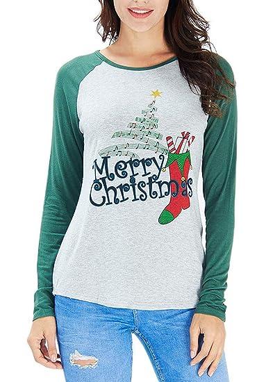 7f67dc82 Merry Christmas Baseball T-Shirt Women's Cute Funny Christmas Music Tees  Long Sleeve Raglan Splicing Blouse Tops at Amazon Women's Clothing store: