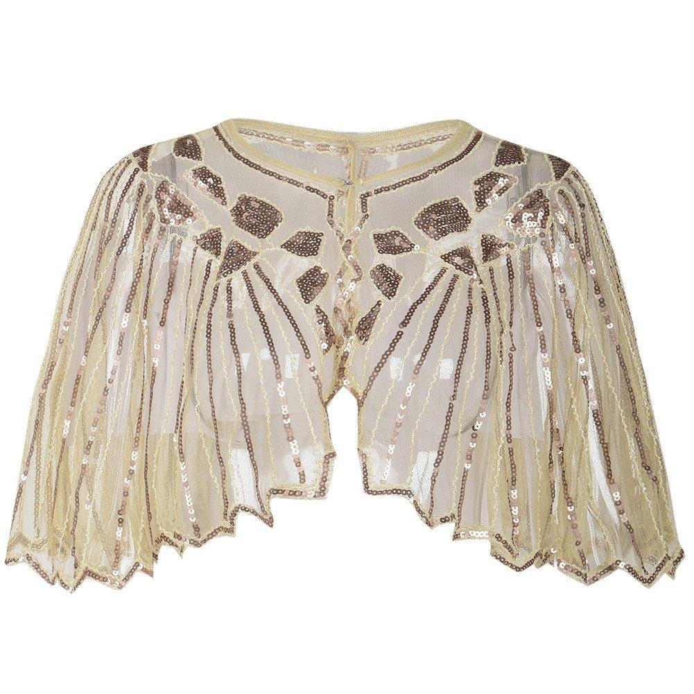 PrettyGuide Women's 1920s Shawl Beaded Sequin Deco Cape Bolero Flapper Cover up Champagne Beige
