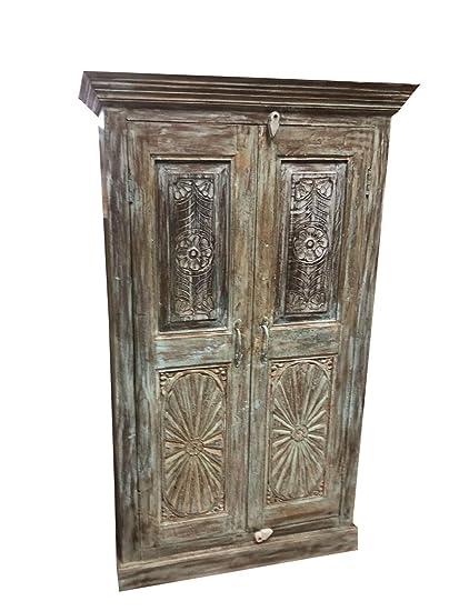 Mogul Interior Antique Rustic Cabinet Chakra Carving Blue Old Doors Armoire - Amazon.com: Mogul Interior Antique Rustic Cabinet Chakra Carving
