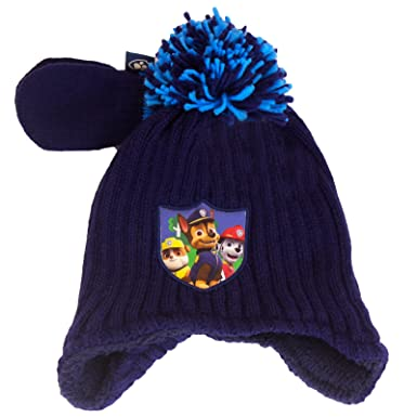 424710e82ef3 Kids Boys Babies Paw Patrol Winter Hat Mittens Set Navy Marshall ...