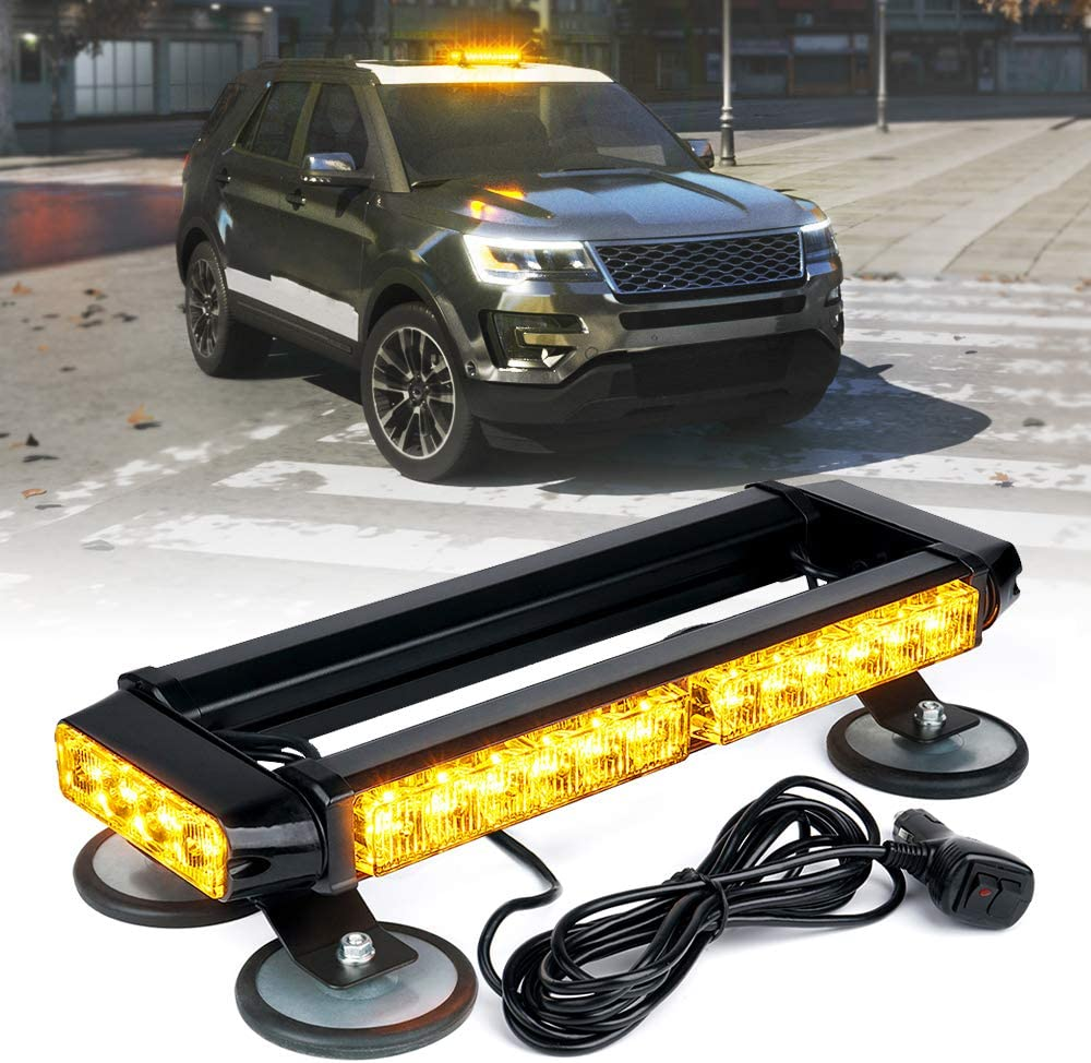 Xprite Amber 32 LED Strobe Flashing Light Bar, 21 Flash Modes 14.5 Inch Emergency Hazard Warning Beacon Lights with Magnetic Base for Tow Vehicles Trucks Car Trailer Tractor Snow Plow Roof Safety