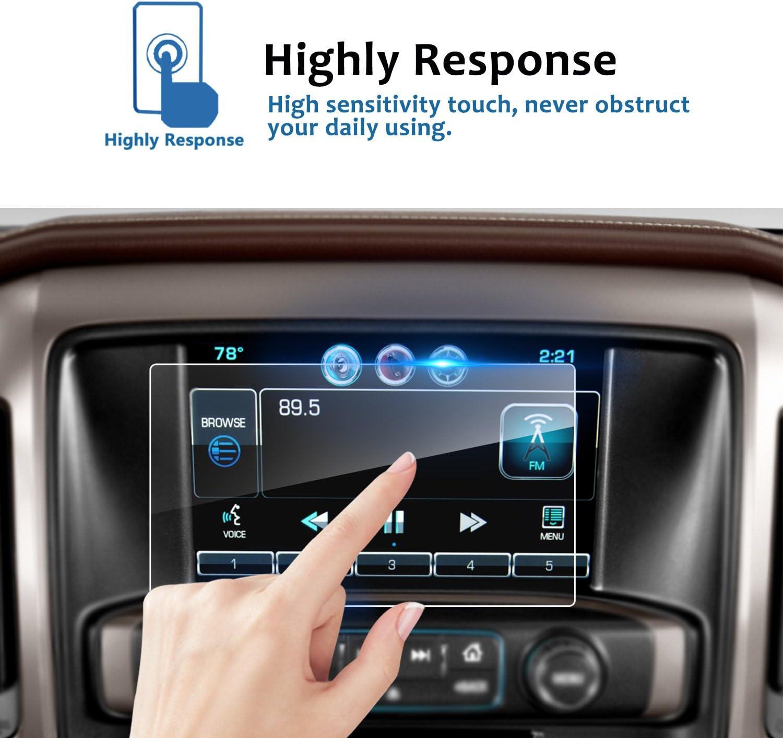9H Tempered Glass Infotainment Center Touch Display Guard 2PCS 8 Inch LFOTPP 2014-2018 Chevrolet Silverado 1500 2500HD 3500HD LTZ MyLink Car Navigation Screen Protector