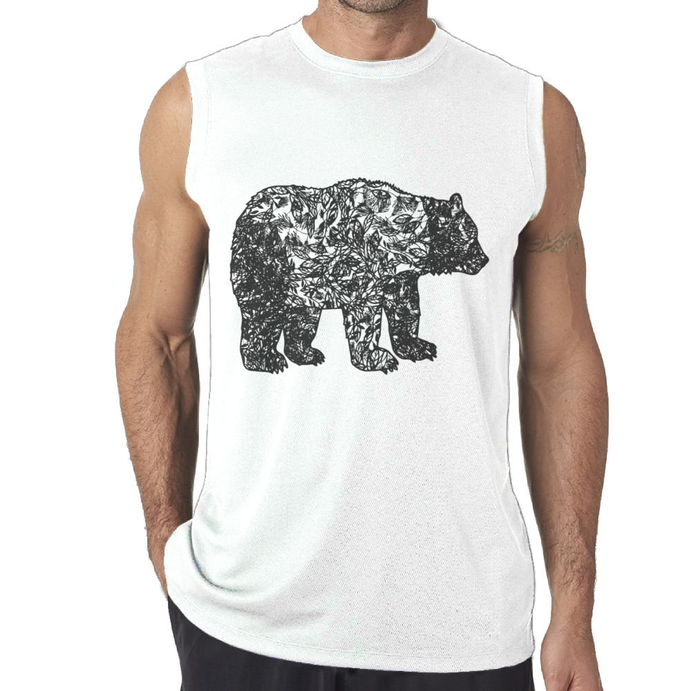 Oopp Jfhg Tanks Tops Sleeveless Shirts Fit Men Funny Leaves Polar Bear Cotton