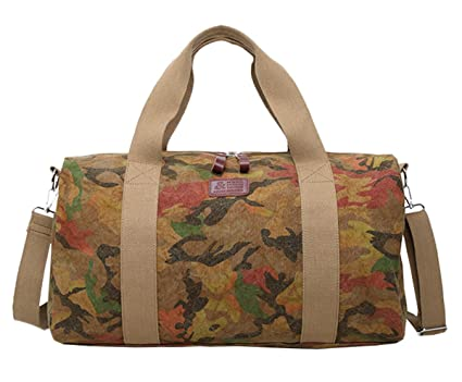 4126f2f7f1 Quanjie Sac de Voyage Imperméable Toile Sacs de Sport Week-end Grande  Capacité Gym Travel Duffel Bag pour Camping Randonnée pour Hommes et Femmes  (Khaki): ...