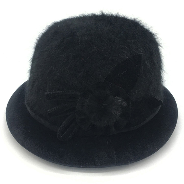 Middle-aged mom elderly hat female grandmother rabbit wool basin hat winter plus velvet thick hat elderly warm cap,adjustable,black