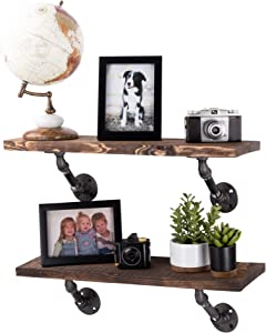 PIPE DÉCOR Industrial Pipe Wooden Shelves Restore Premium Douglas Fir Wood Shelving 24 Inch Length Set of 2 Boards and 4 Angle Brackets Trail Brown Finish