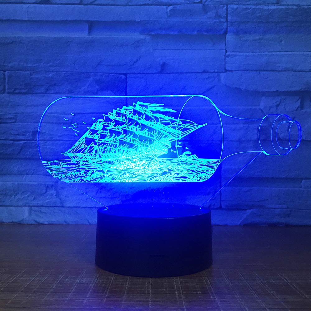 DTYDE The Black Pearl Ship Boat 3D Night Light Acrylic LED Lamp 7 Colors Change Bedside Toys for Children Xmas Gift