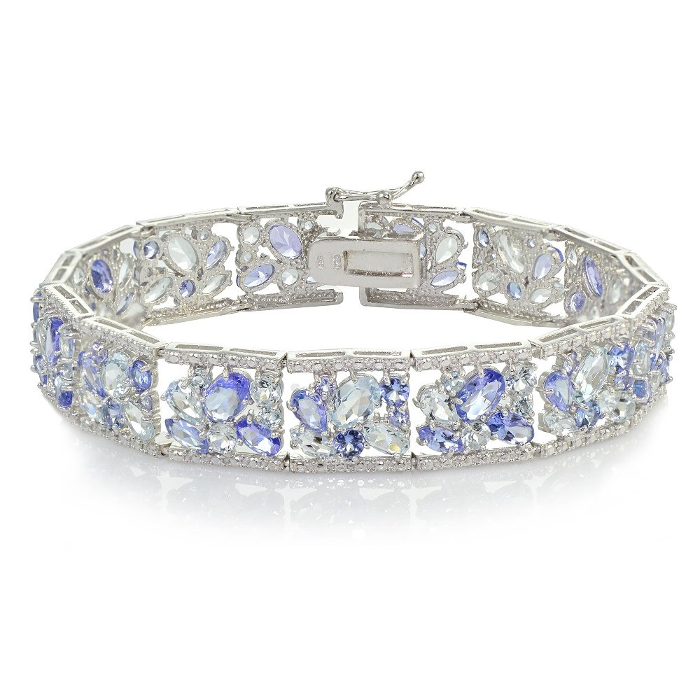 Sterling Silver Tanzanite and Aquamarine Flower Cluster Bracelet