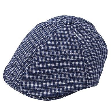 578c1234 Erigaray Men's Breathable Linen Ivy Gatsby Newsboy Driving Hat Summer Beret  Irish Cabbie Flat Cap Blue