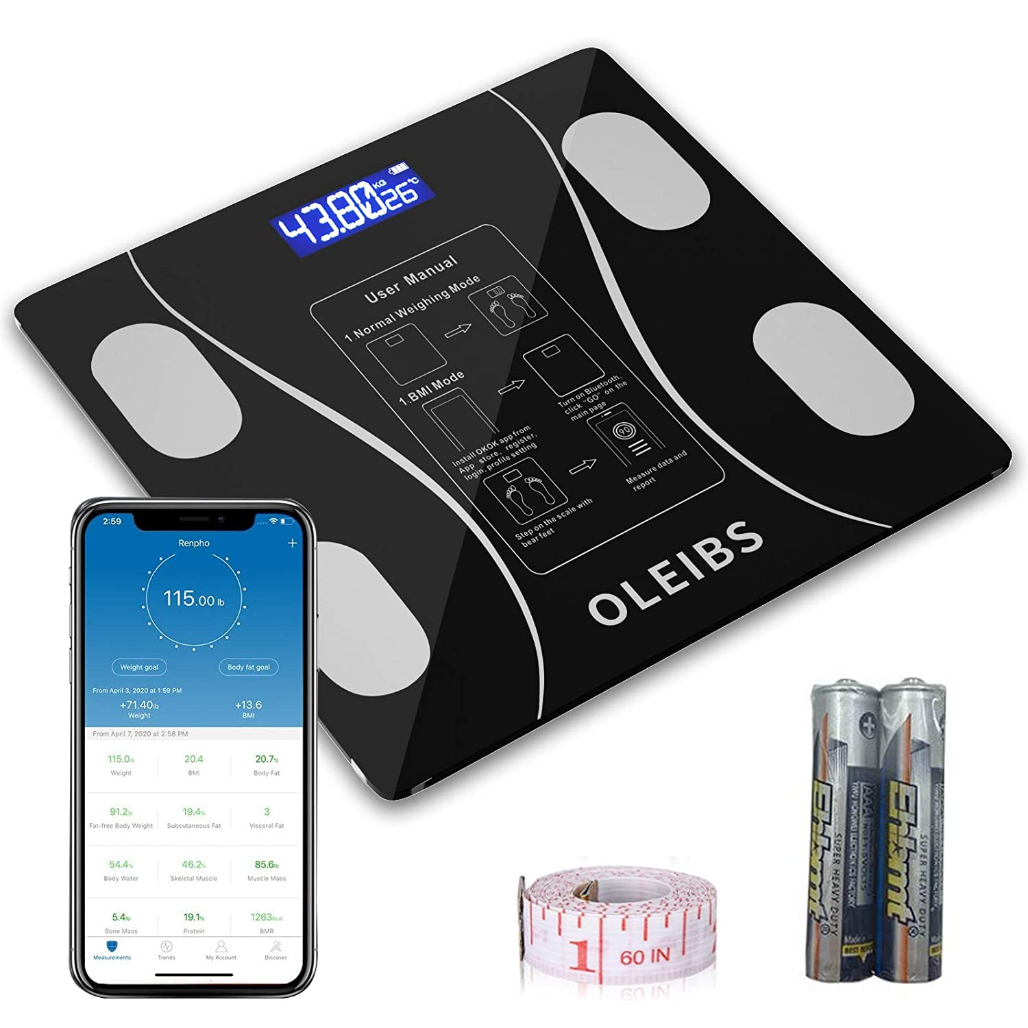 OLEIBS Body Fat Scale, Wireless Smart Digital Bathroom Tempered Glass Platform BMI Scale, Body Composition Analyzer with Smartphone App Sync with Bluetooth, Backlit LCD- Black 400 lbs