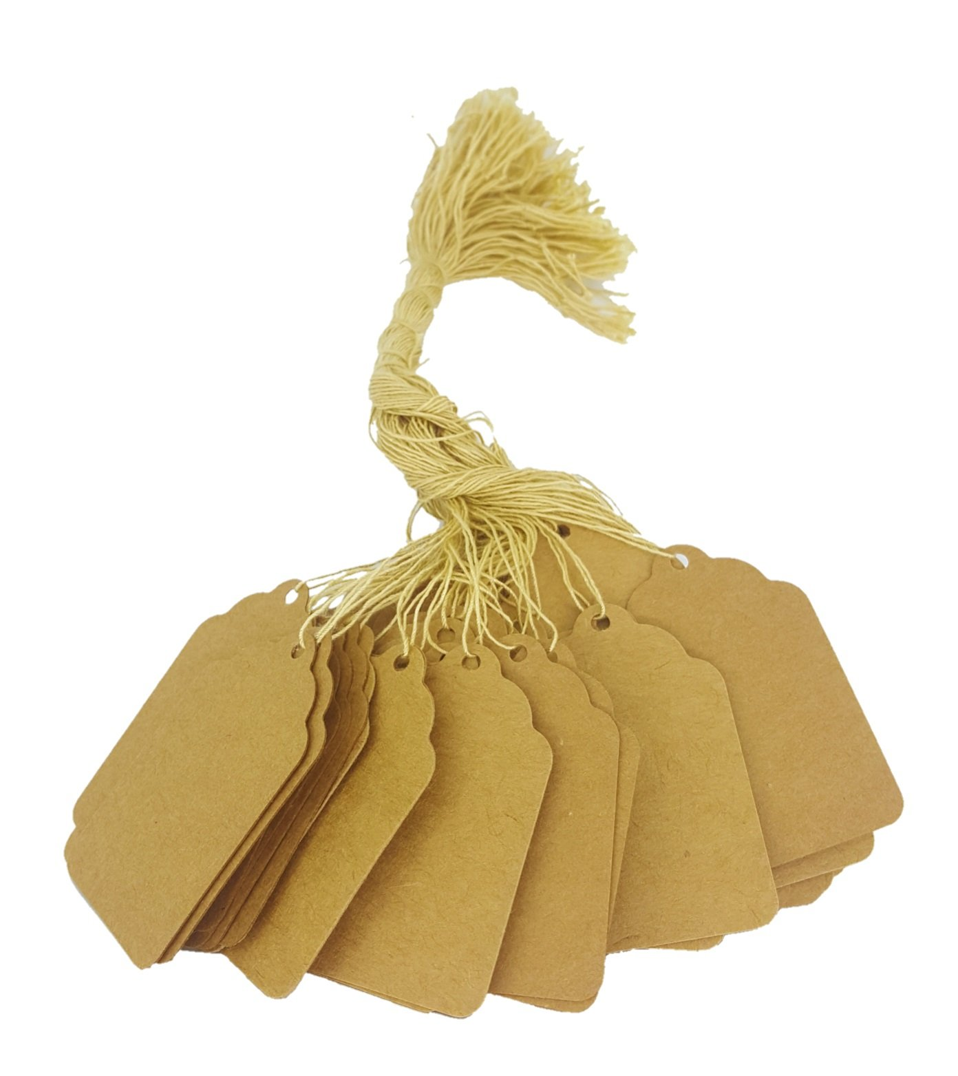 100 Pcs of Natural Kraft Paper String Tags, Price Tags, Elegant String Tags Perfect for Gifts, Promotions, Events, or Boutiques (2 3/16'' X 1 7/16'', Natural Kraft)