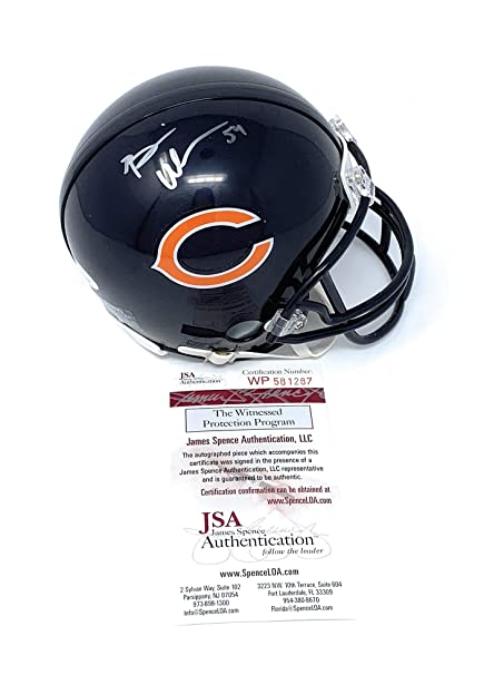 8a9730ab7ad Brian Urlacher Chicago Bears Signed Autograph Mini Helmet JSA Witnessed  Certified