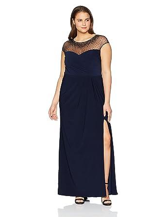 9a80364cf2c Xscape Plus Size Women s Beaded Illusion Top Dress at Amazon Women s  Clothing store