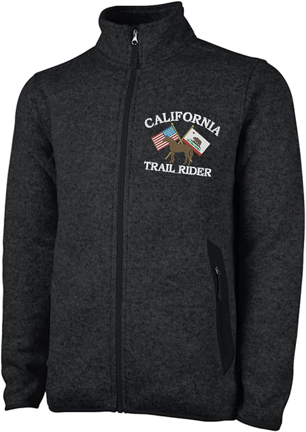 Embroidered Mens Charles River Calfornia Trail Rider Sweater Fleece Jacket