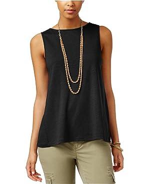 American Living Womens Sleeveless Lace-Panel Top Black Medium
