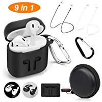 Cuauco AirPods Case Protective Silicone Cover with 2 Anti-Lost Airpods Strap/2 Pairs of Ear Hooks/2 Carabiner/1 Airpods Watch Band Holder/1 Headphone Case for Apple Airpods Accessories (9 Pack)(Black)
